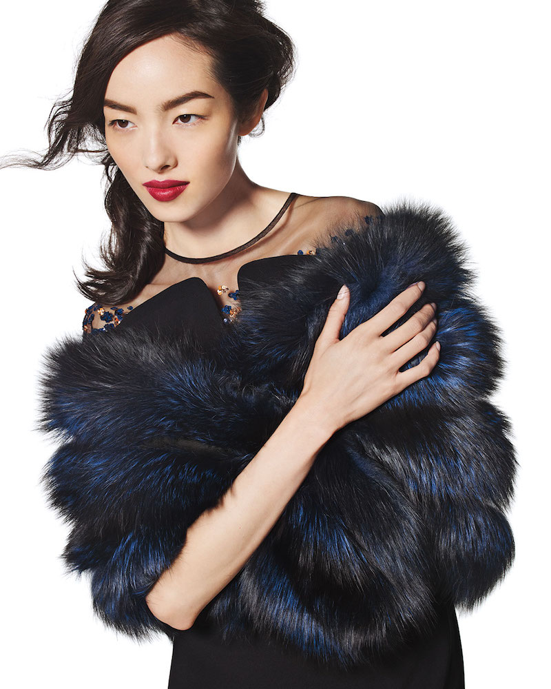 Gorski Fox Fur Stole with Leather