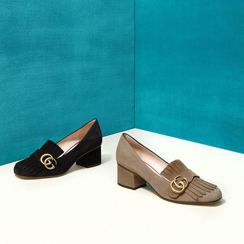 Gucci Marmont GG Suede Block-Heel Pumps