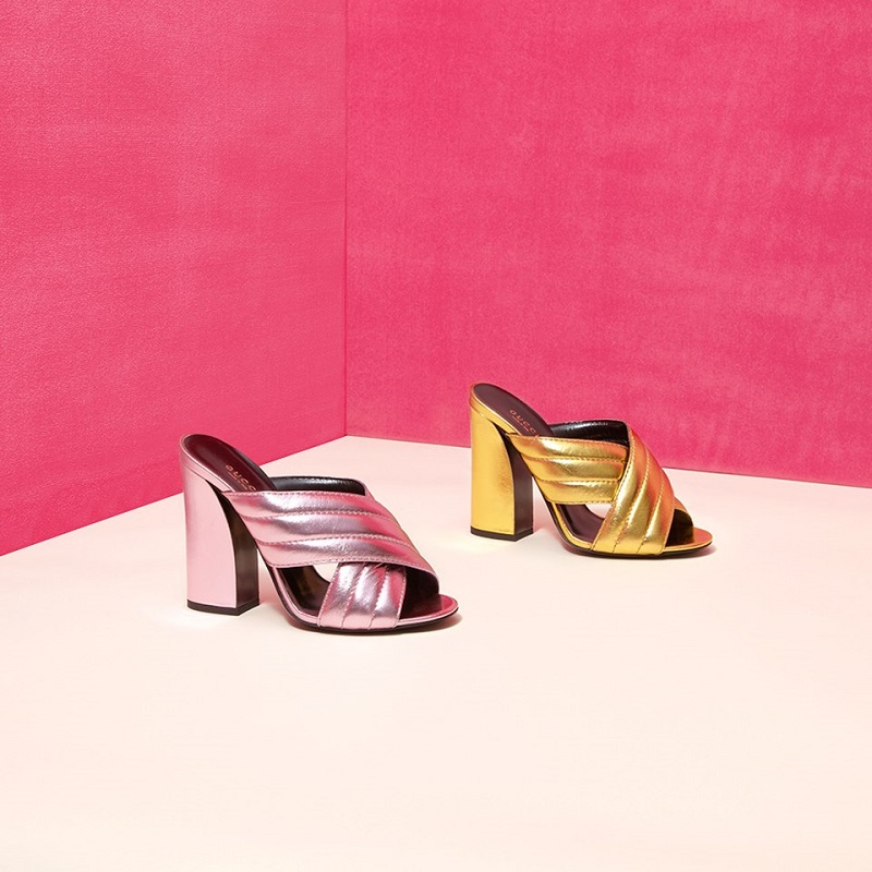 Gucci Webby Metallic Leather Mule Sandals