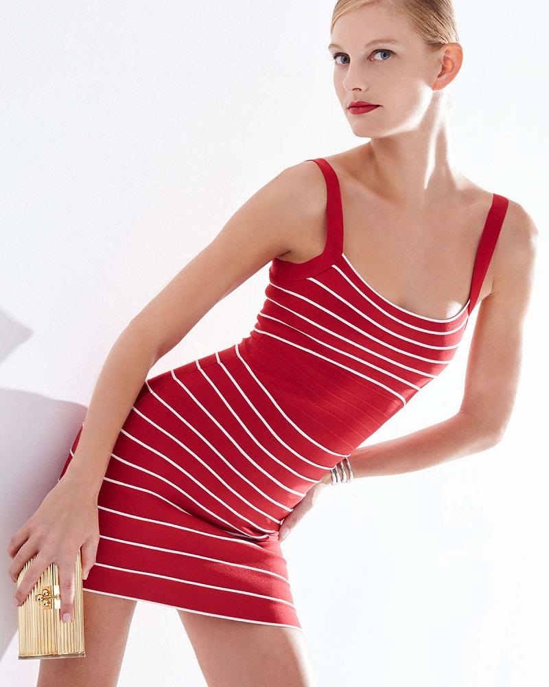 Herve Leger Micro-Striped Bandage Dress