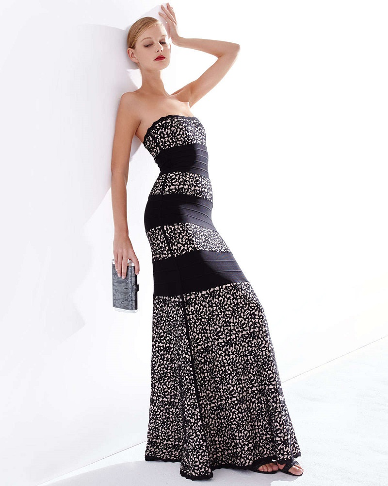 Herve Leger Strapless Fit-&-Flare Gown, Black Combo