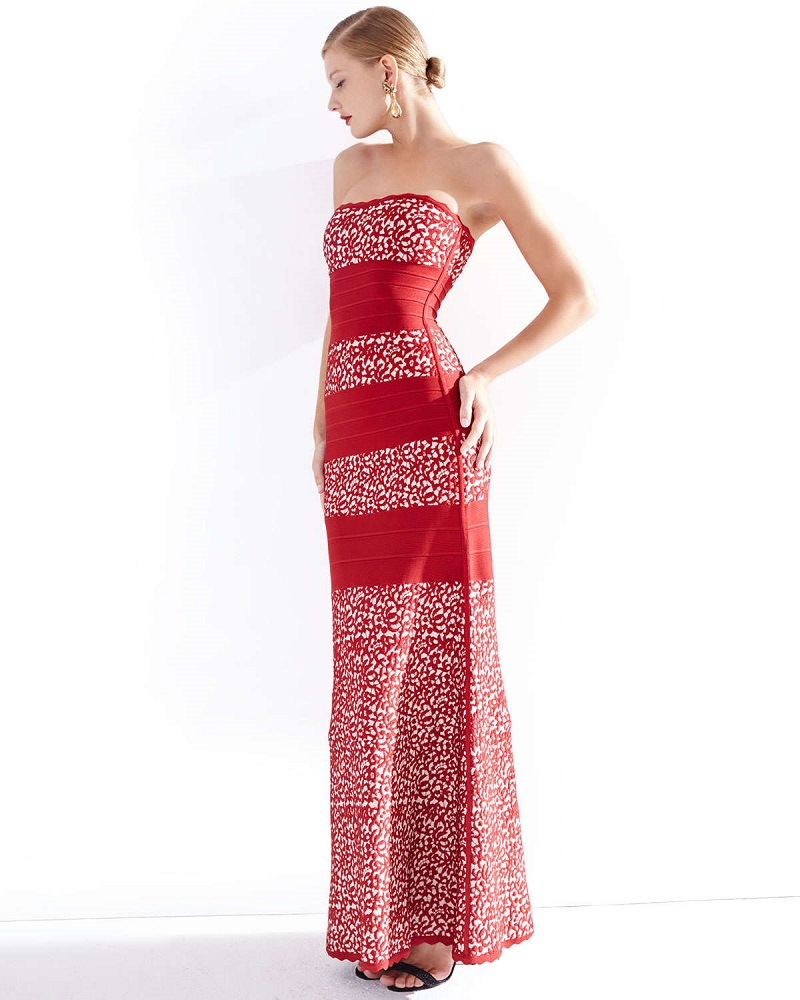 Herve Leger Strapless Fit-&-Flare Gown