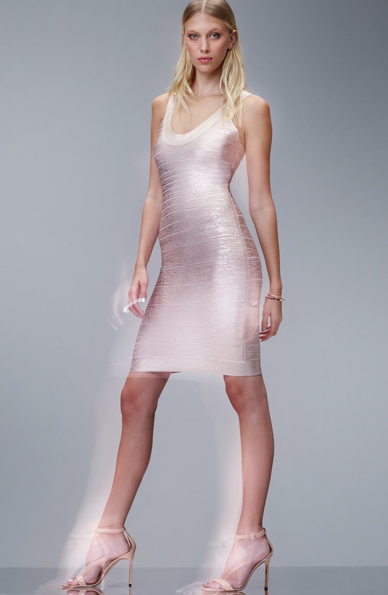 Herve Leger U-Neck Foil Bandage Dress