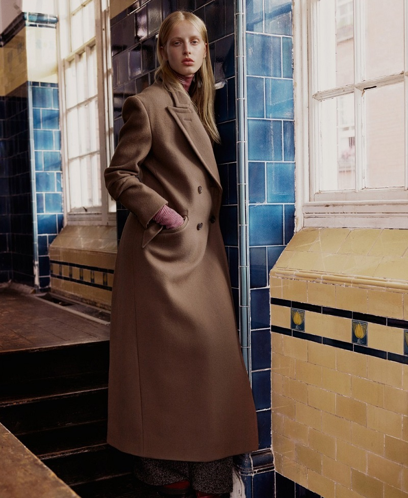 Hillier Bartley Melton double-breasted wool coat