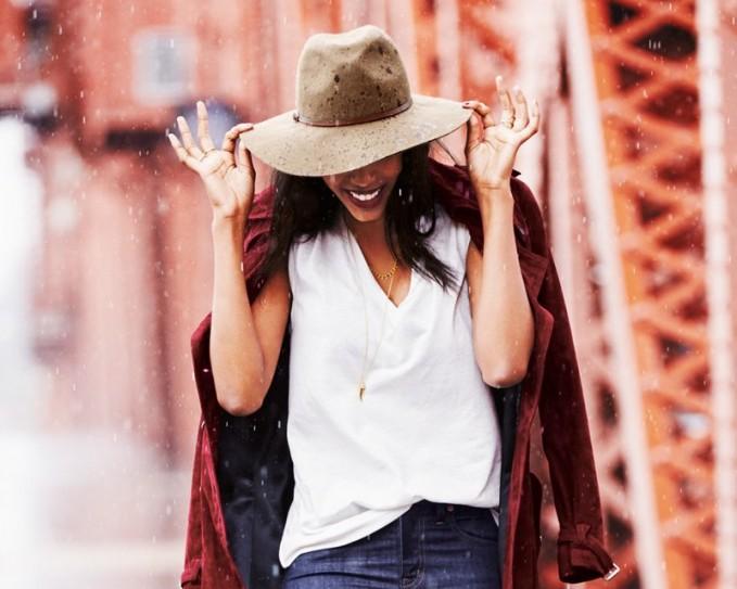 Hinge Faux Leather Trim Wool Felt Panama Hat_1