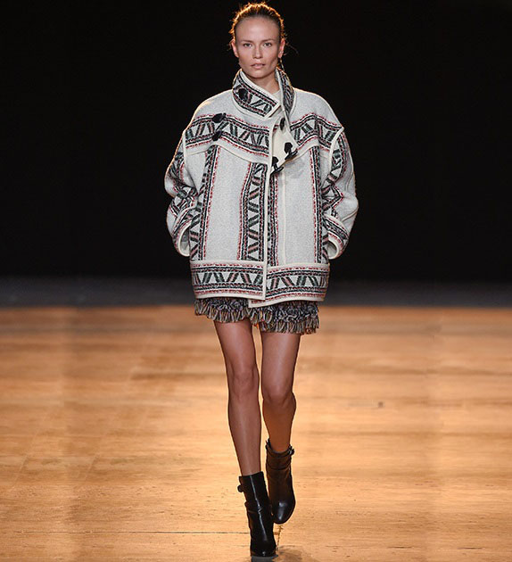 Isabel Marant Dillon tribal-woven wool-blend coat