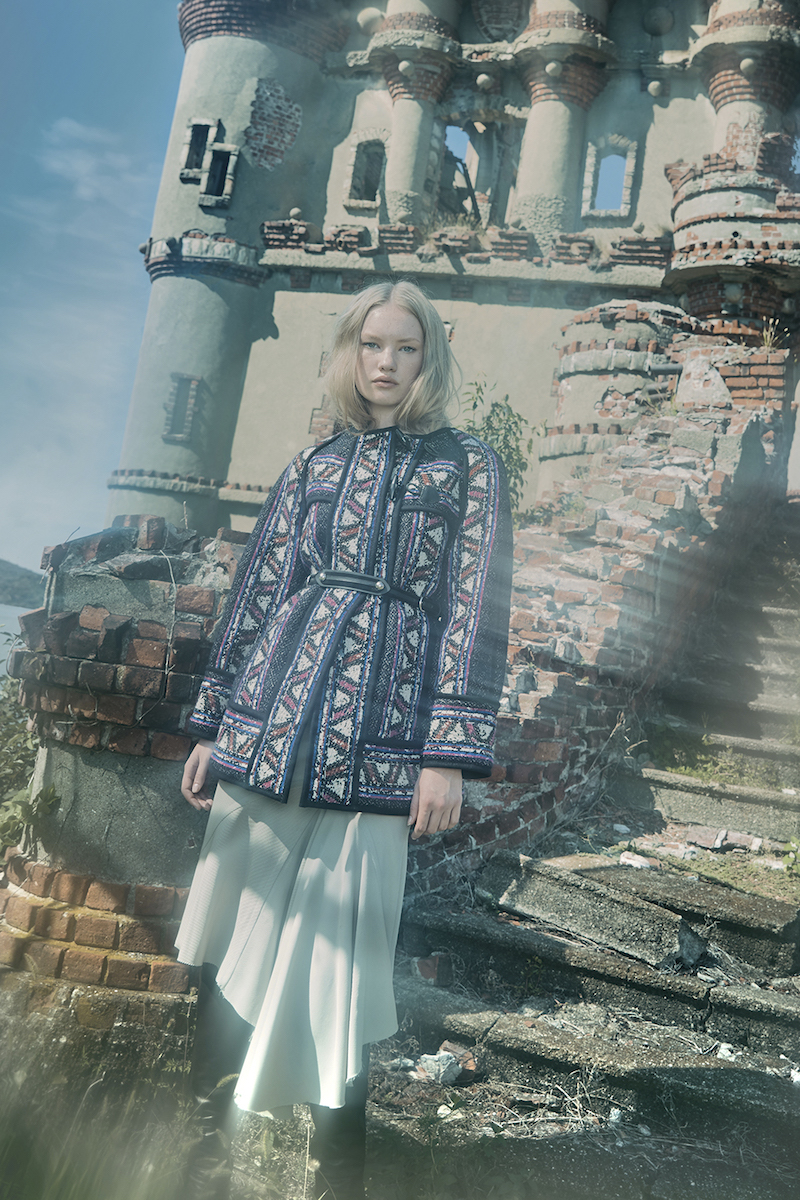 Isabel Marant Wool Linen Blend Tribal Paneled Seventies Coat