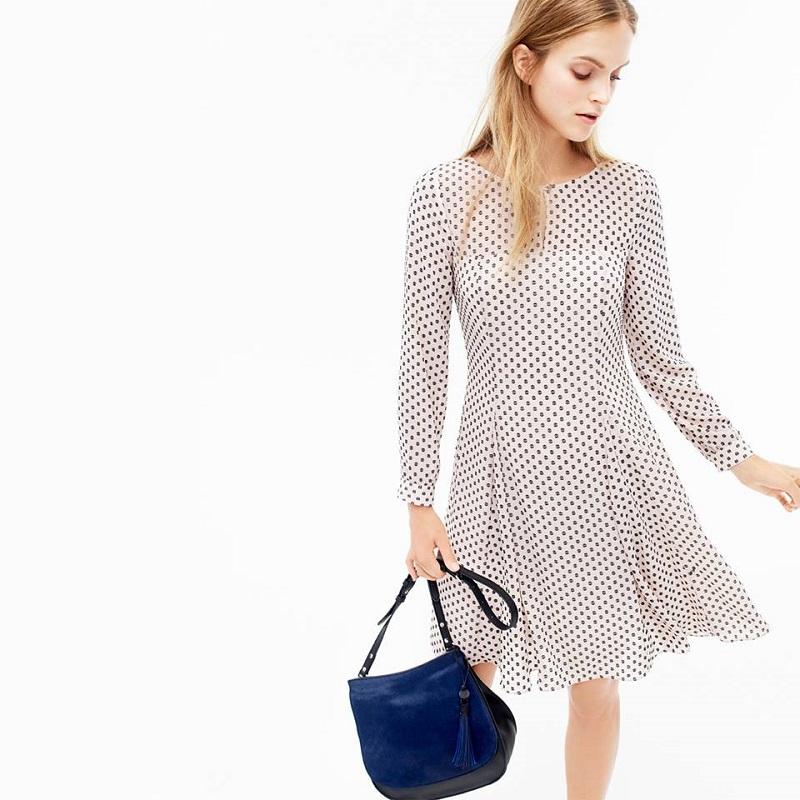 J.Crew Long-sleeve textured dot dress