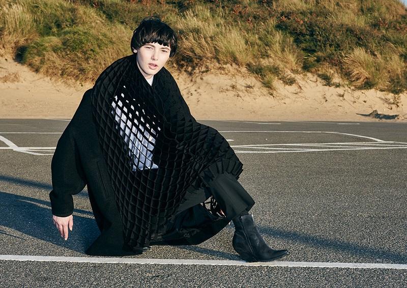 Junya Watanabe Black Wool & Pleated Lattice Coat