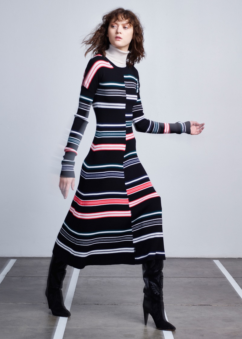 KENZO Striped & Ribbed Wool Dress
