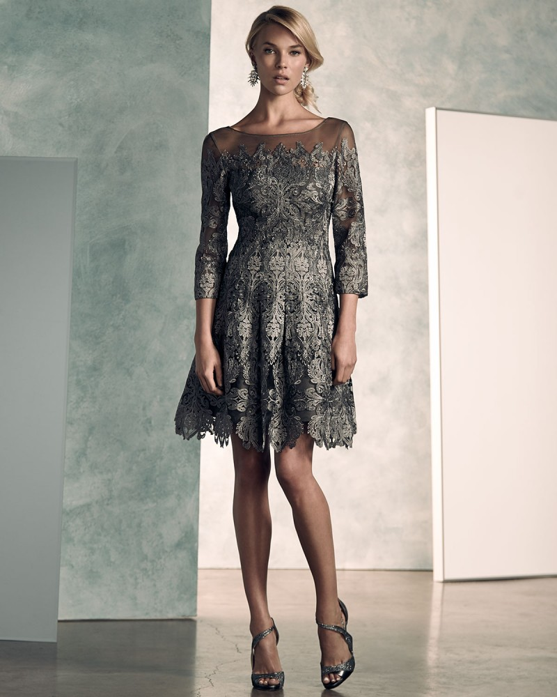 Kay Unger New York 34-Sleeve Lace A-line Cocktail Dress