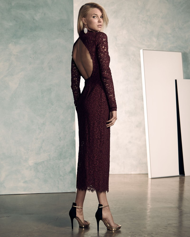 ML Monique Lhuillier Long-Sleeve Lace Midi Cocktail Dress