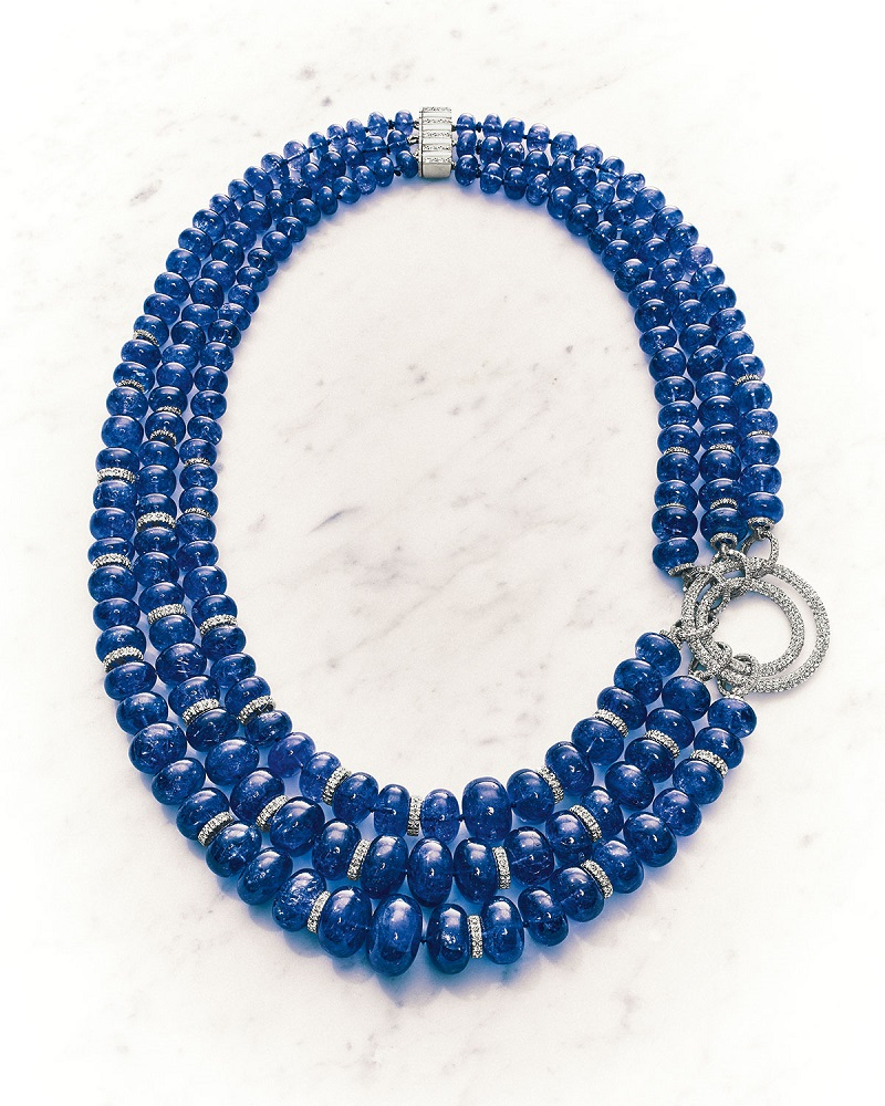 Mariani Tanzanite and Diamond Three-Strand Necklace