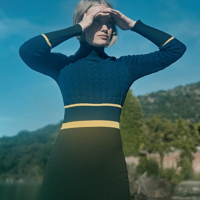 Mary Katrantzou Navy And Green Virgin Wool Falo Turtleneck Dress