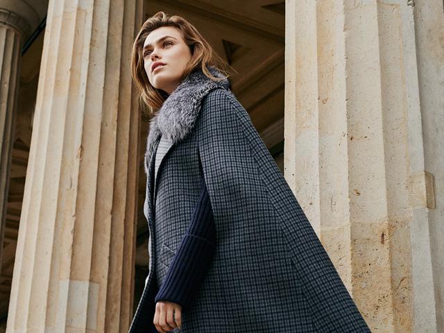 Michael Kors Collection Pressed Guncheck Wool & Fur Cape Coat