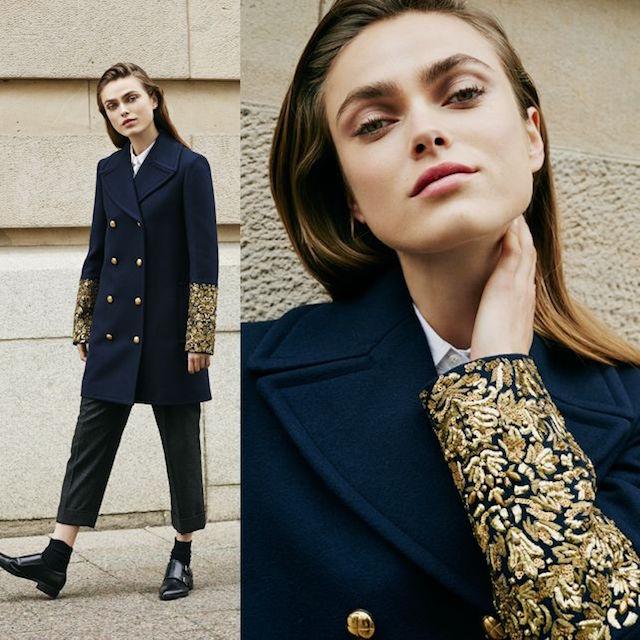 Michael Kors Collection Wool Melton Bouillonne Cuff Coat