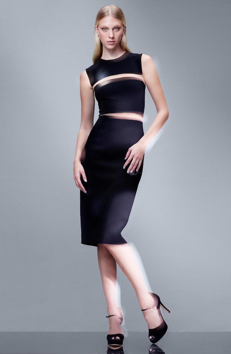 Michael Kors Illusion Stretch Wool Sheath Dress