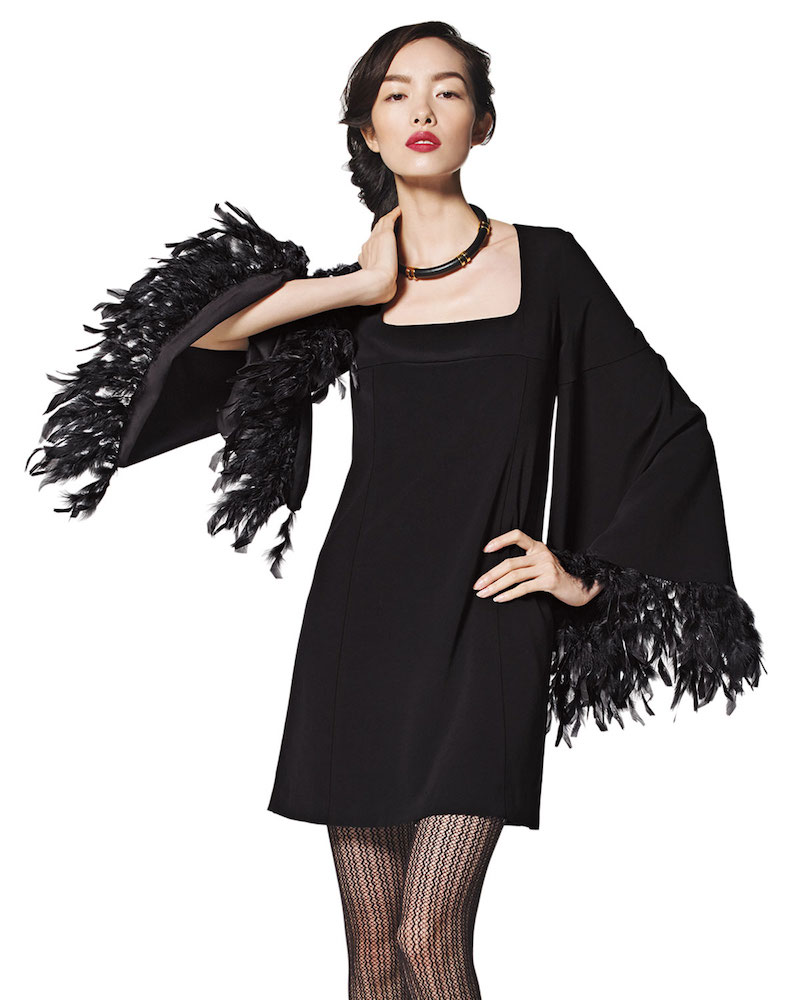 Nanette Lepore Cape Dress with Feather Cuffs
