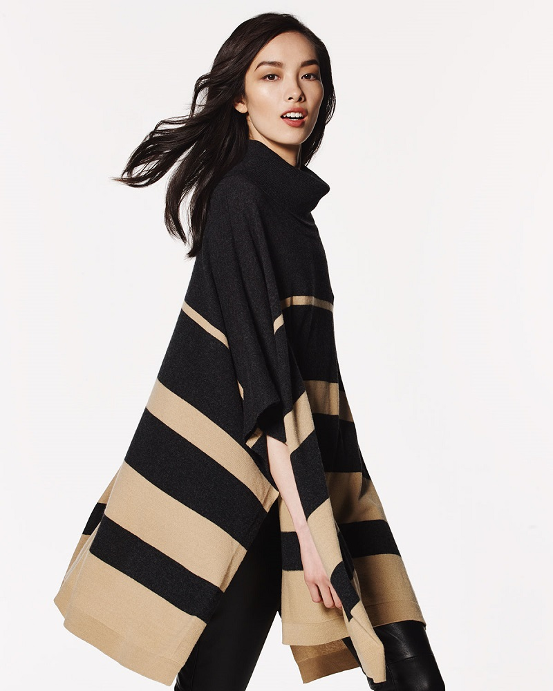 Neiman Marcus Cashmere Collection Cowl-Neck Striped Cashmere Poncho