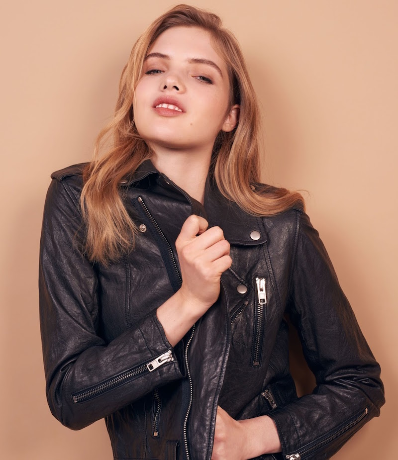 Nili Lotan Washed Leather Biker Jacket