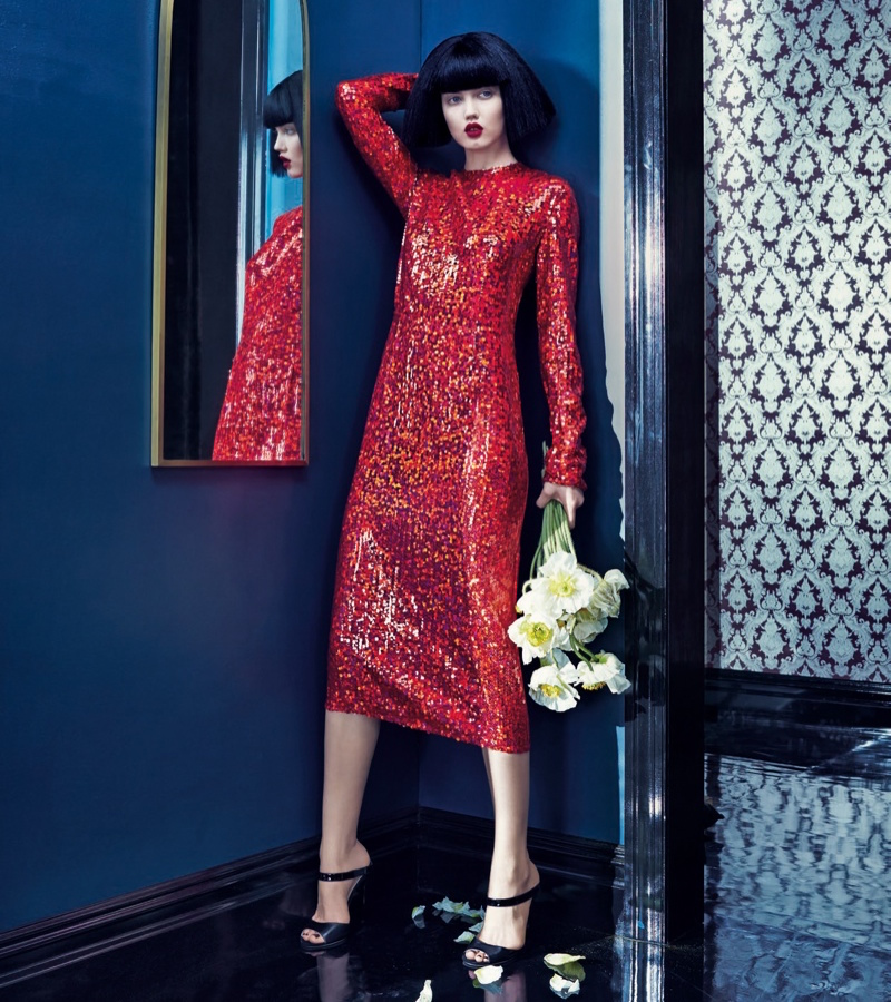 Nina Ricci Long Sleeve Sequin Dress