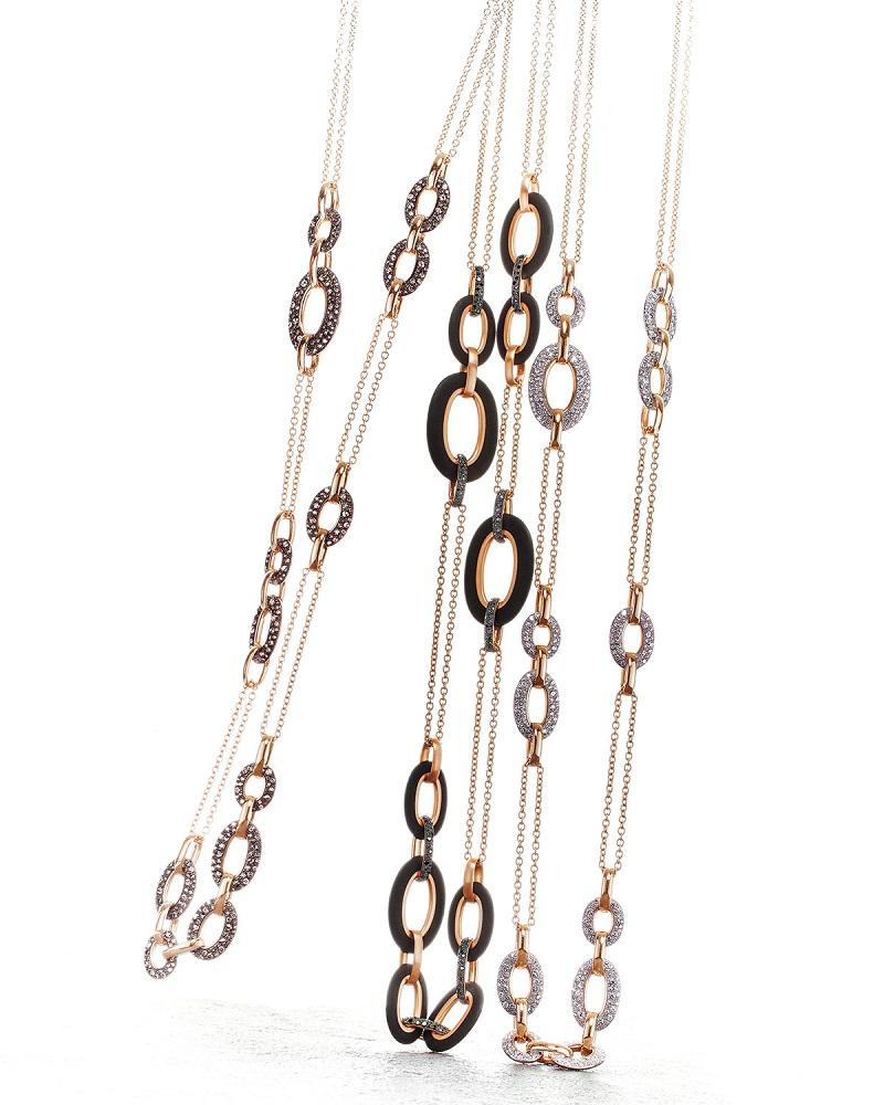 Pomellato Tango 18k Rose Gold Black, Brown & Diamond Link Necklaces