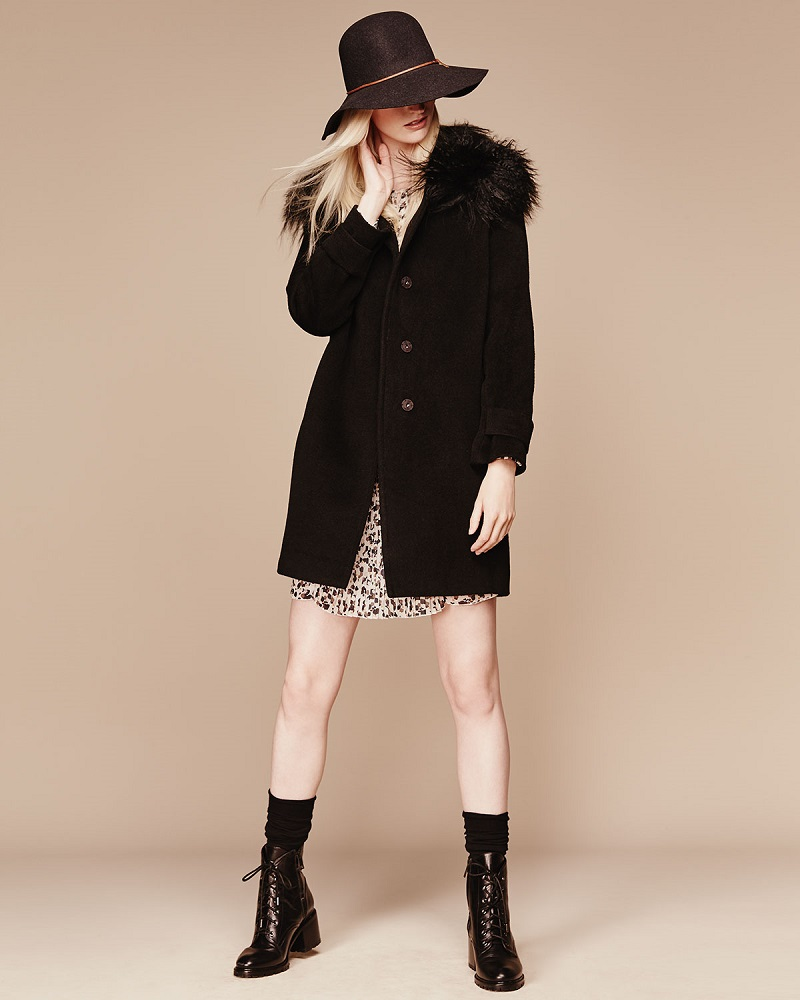 Rebecca Taylor Fur-Trim Wool Coat