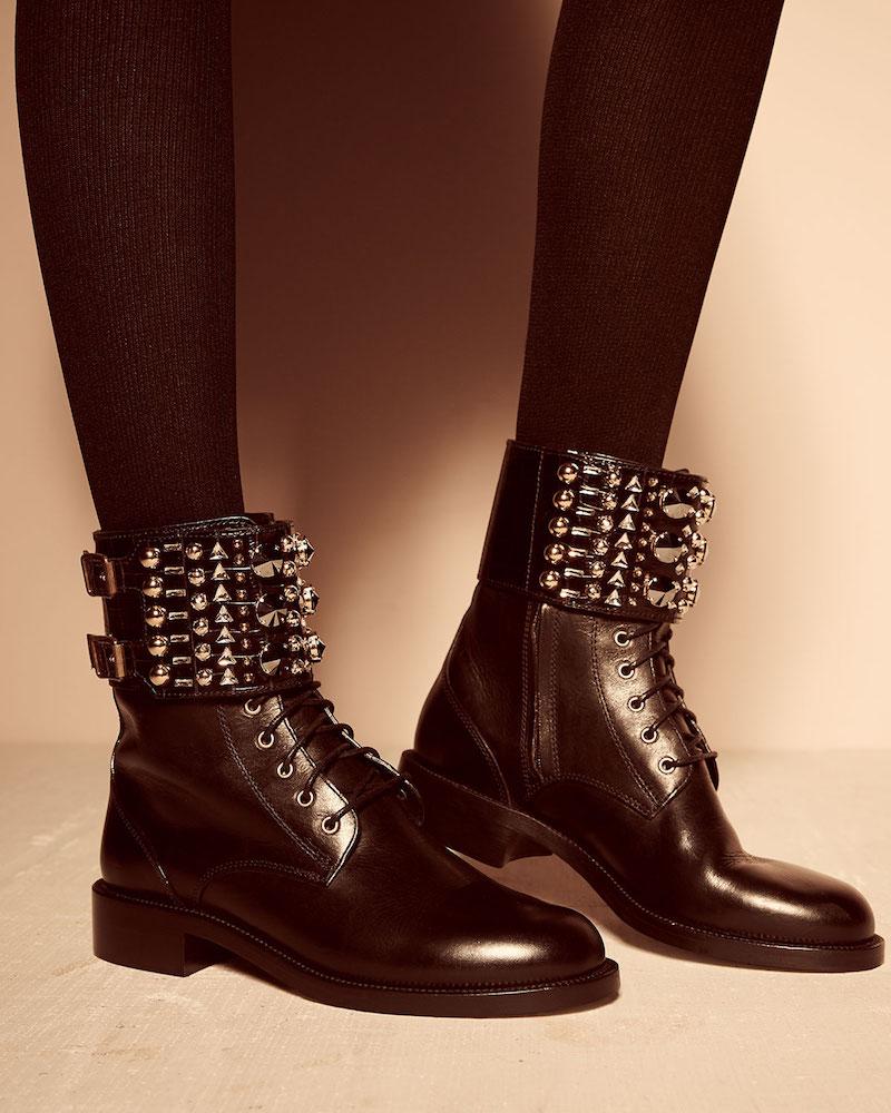 Rene Caovilla Studded-Cuff Leather Boot