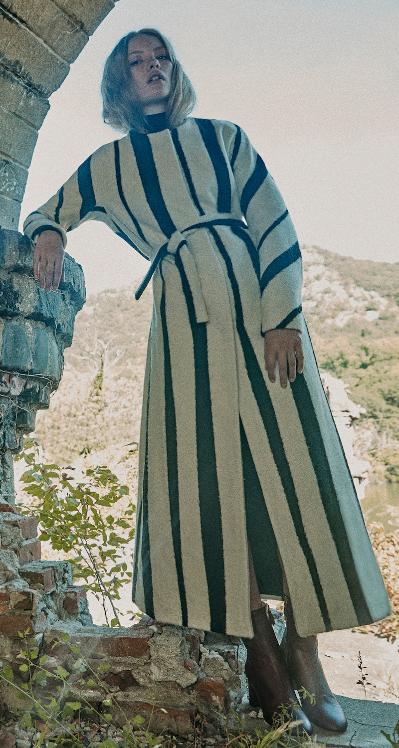 Rochas Striped Wool and Silk Blend Maxi Belted Coat