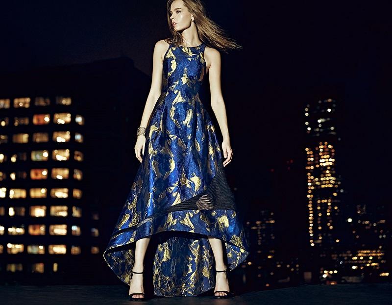 Sachin & Babi Noir Sarah Brocade-Print Hi-Lo Gown