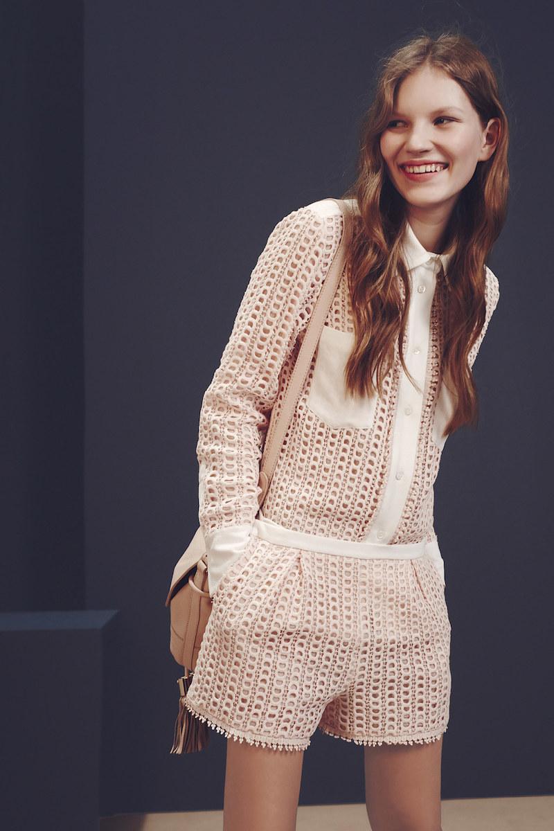 See By Chloé Contrast-panel Macramé-lace Shirt