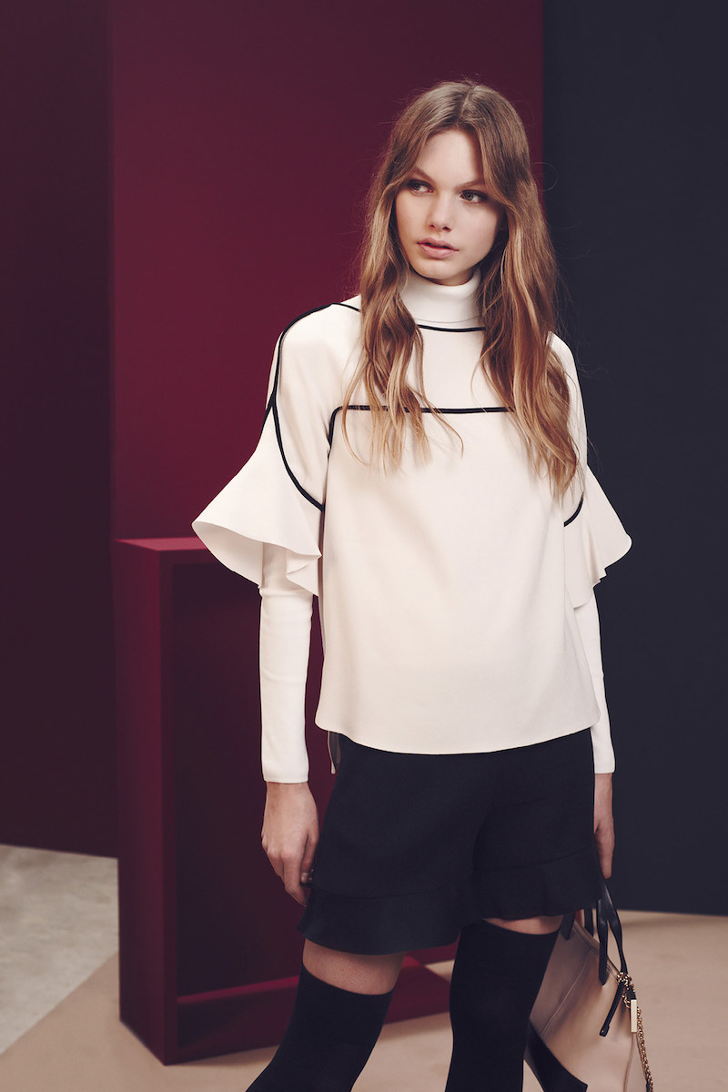 See By Chloé Contrast-trim Ruffle-sleeve Top