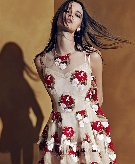 Simone Rocha Floral Tulle Ruffle Dress-