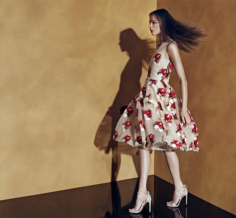 Simone Rocha Floral Tulle Ruffle Dress