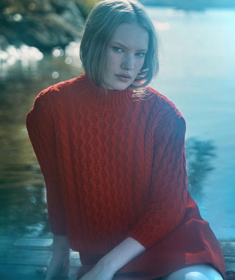 Simone Rocha Red Wool Chunky Knit Turtleneck