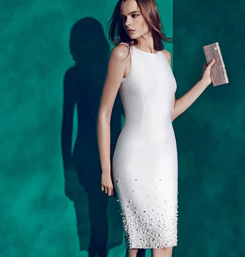6a0d4a3b966a0 Shop the Fall 2015 Eveningwear Lookbook at Saks Fifth Avenue. St. John  Beaded Pearl Dress