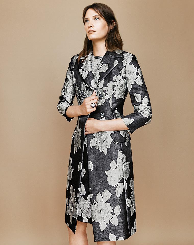 St. John Collection Floral Duchesse Satin Coat