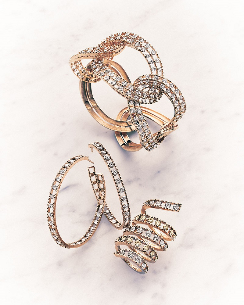 Staurino Fratelli 18k Rose Gold Coiled Diamond Flex Ring