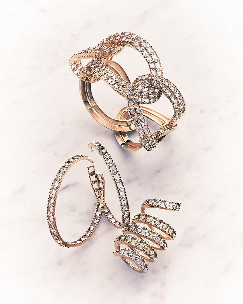 Staurino Fratelli 18k Rose Gold Coiled Diamond Flex Ring