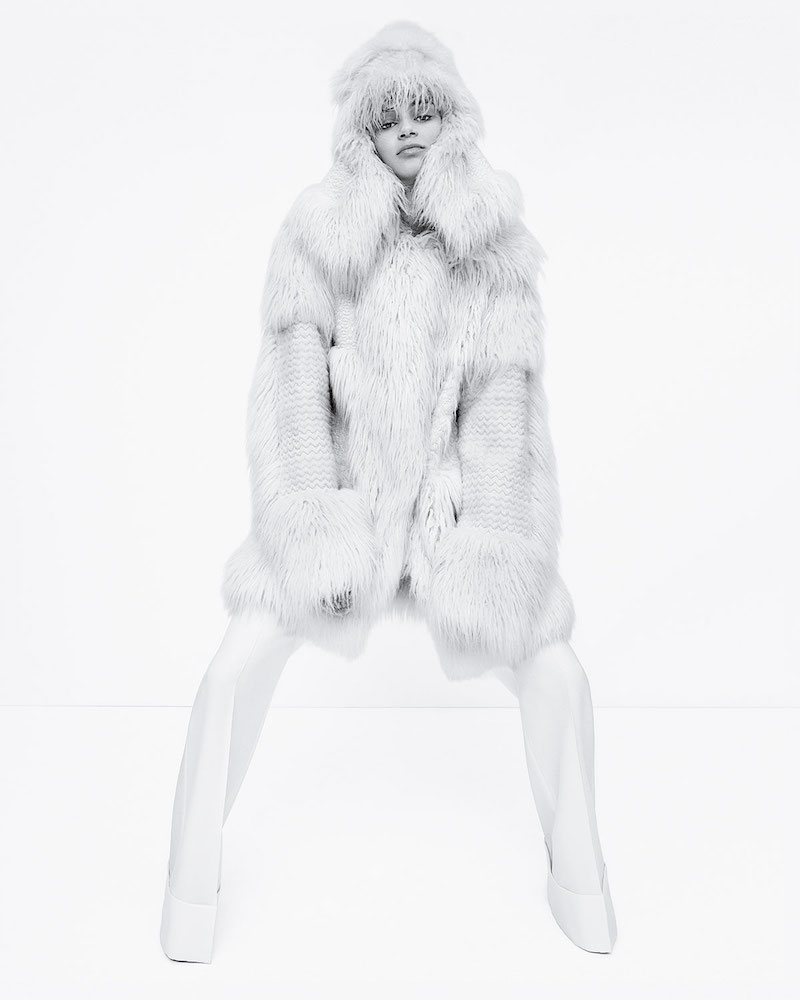 Stella McCartney Faux-Fur Long-Sleeve Coat