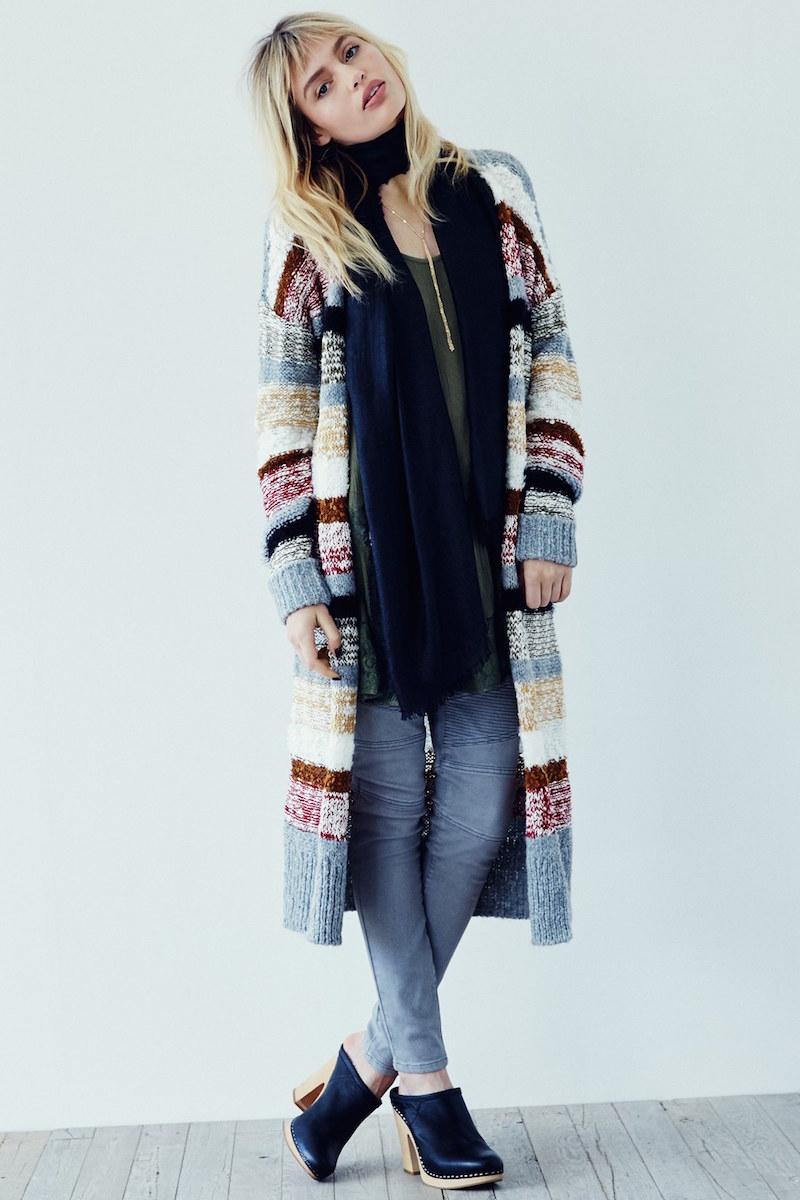 Sun & Shadow Stripe Long Cardigan