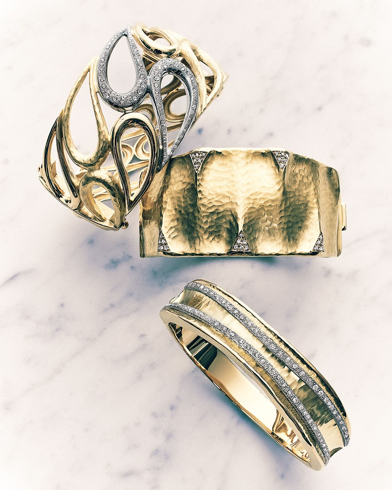 Vendorafa Dune & Onda 18k Gold and Diamond Cuff Bracelets