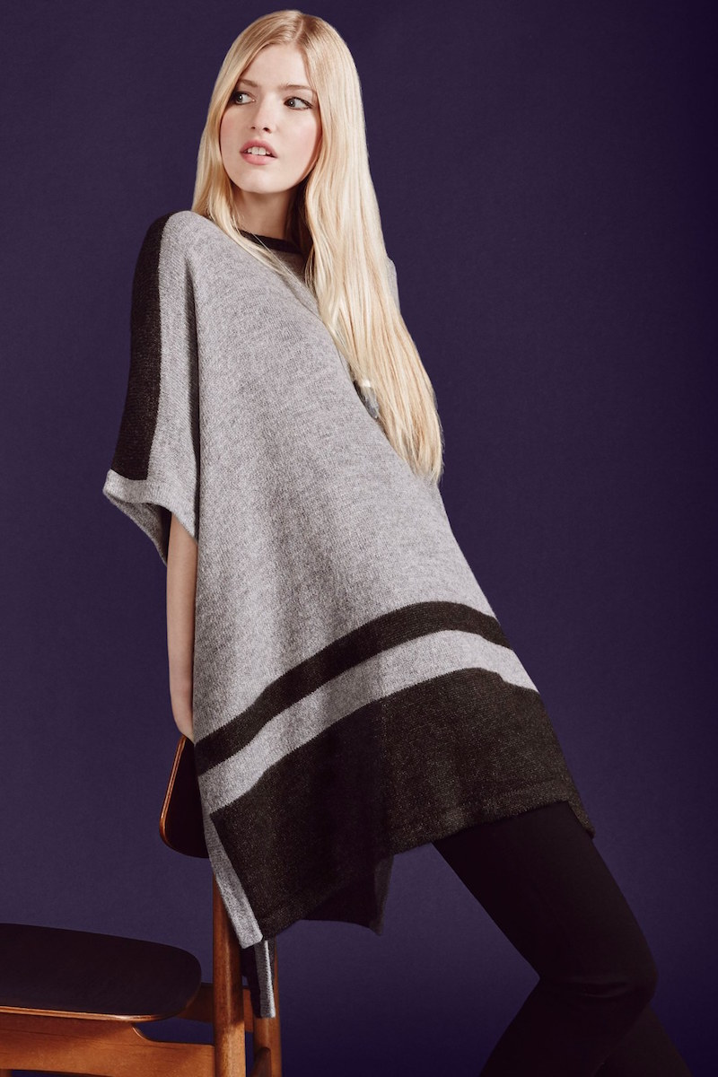 Vince Camuto Border Stripe Poncho Style Sweater