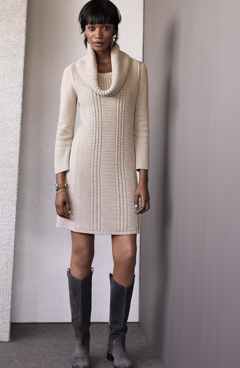 Vince Camuto Cowl Neck Sweater Knit Shift Dress
