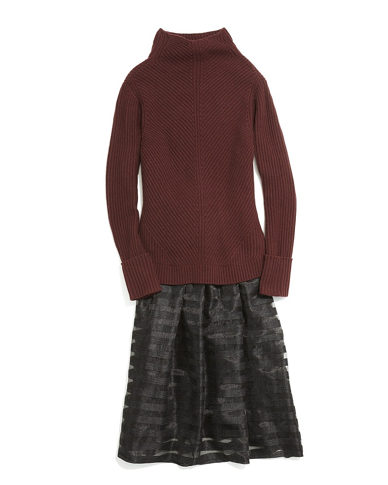Vince Directional-Rib Turtleneck Sweater