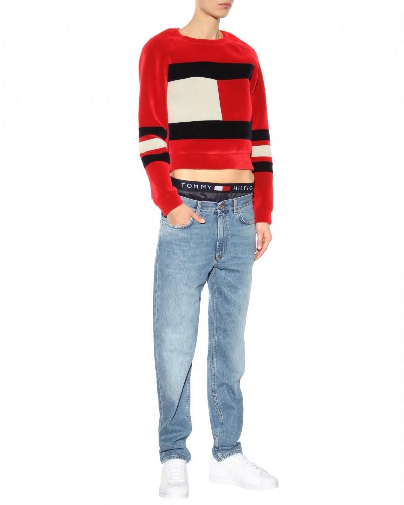 mytheresa.com x Tommy Hilfiger Flag Scuba Velvet Cropped Sweater_1