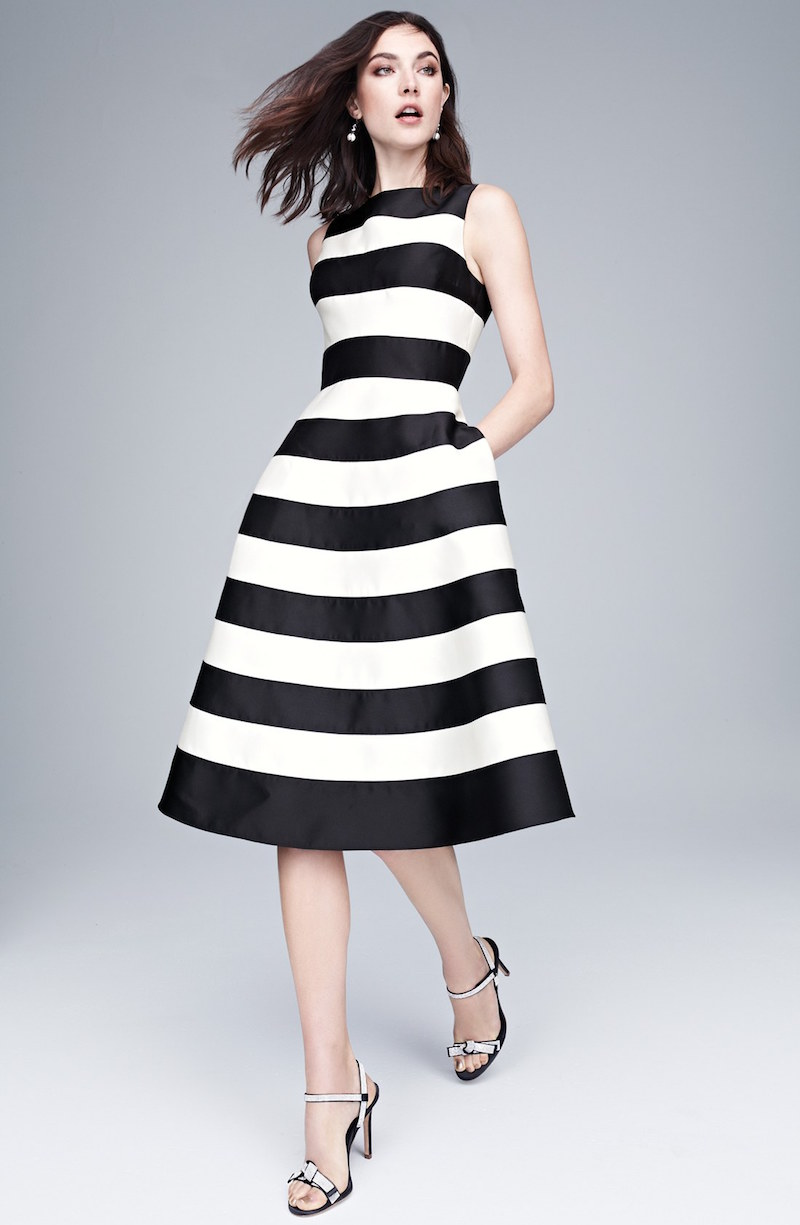 Adrianna Papell Stripe Mikado Fit & Flare Dress