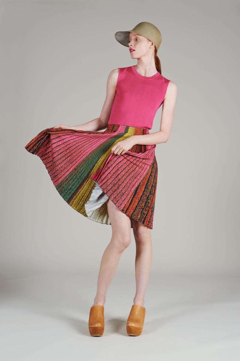 Akris Printed Plisse A-Line Skirt