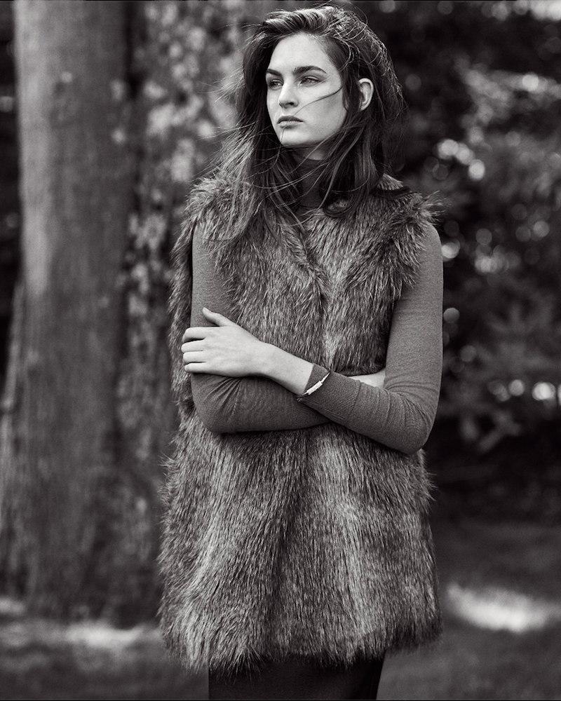 Ann Taylor Faux Fur Long Vest