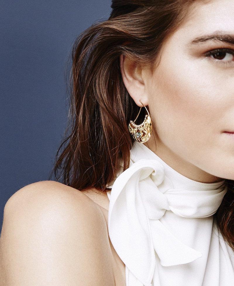 Aurélie Bidermann Fine Jewellery Cashmere Aqua Marina and Diamonds Earrings